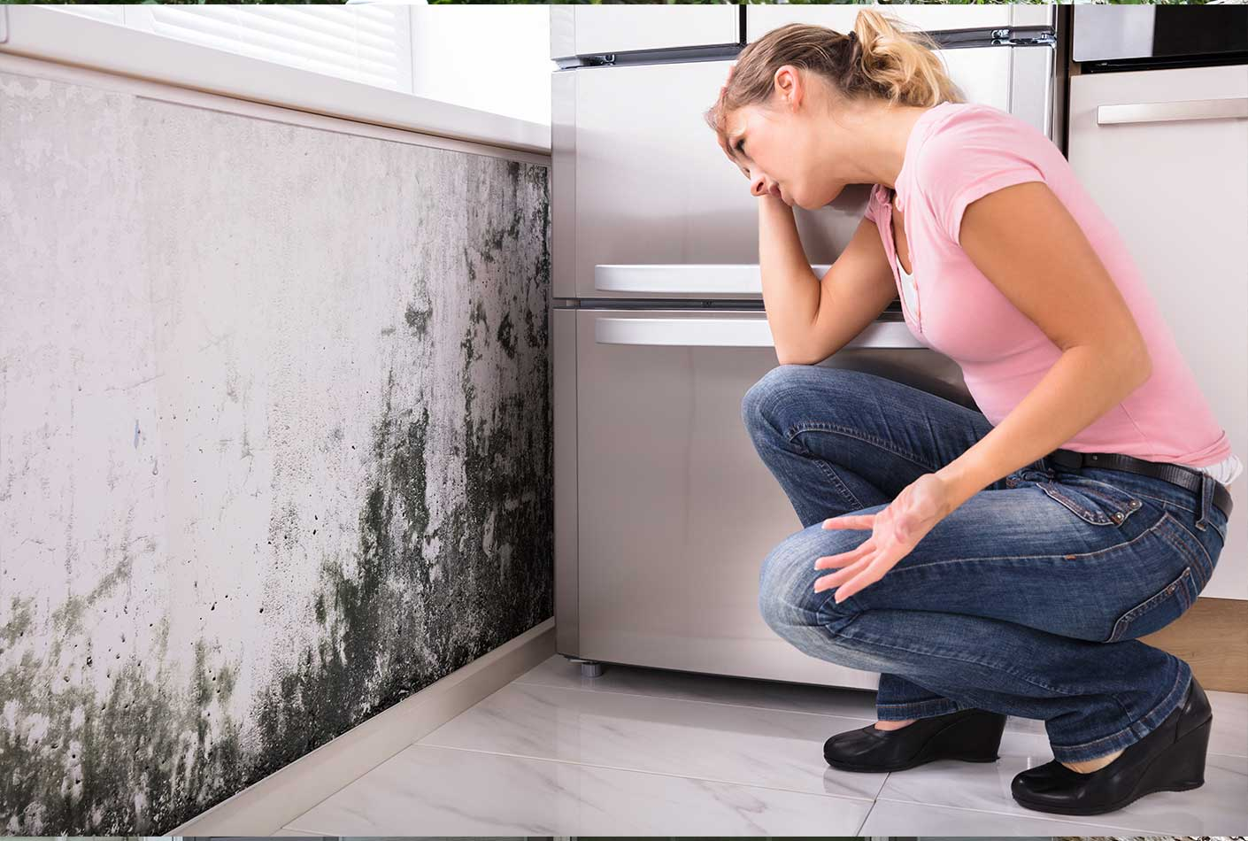 woman and kitchen mold